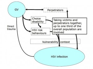 Schematic representation of the links between gender violence and HIV infection
