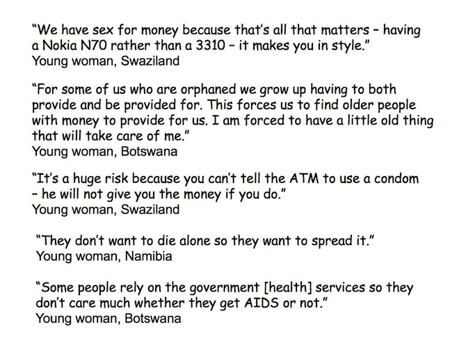 What young women said about inter-generational sex, Botswana, Namibia and Swaziland, 2009